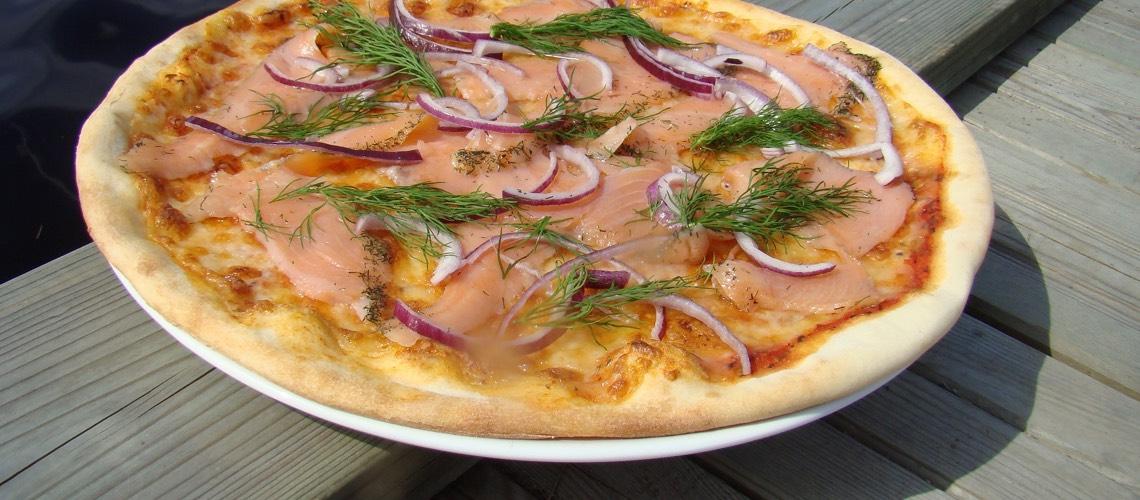Pizza med laks